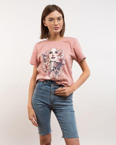 Розовая хлопковая футболка Samo