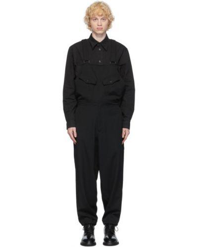 Wełniany czarny spodni kombinezon na paskach z kieszeniami Yohji Yamamoto
