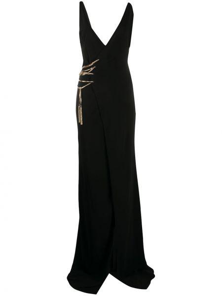 Кружевное черное платье макси с запахом Dsquared2