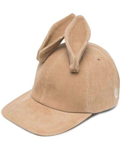 Brązowa czapka z haftem skórzana Undercover