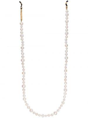 Białe złote okulary perły Frame Chain