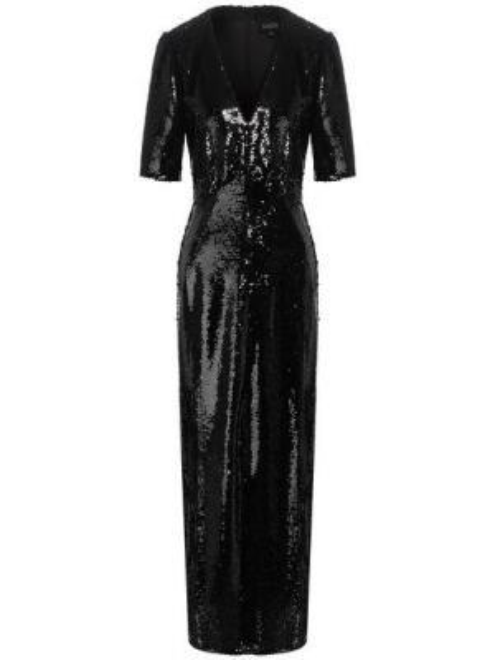 Приталенное платье миди с пайетками с V-образным вырезом на молнии Saloni
