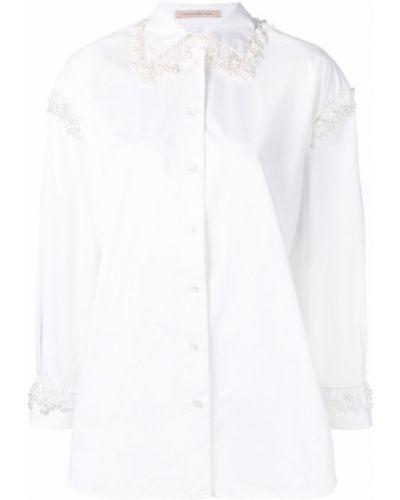 Рубашка с длинным рукавом белая с жемчугом Christopher Kane
