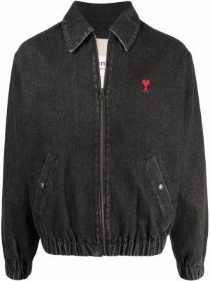 Джинсовая куртка на молнии - черная Ami Paris
