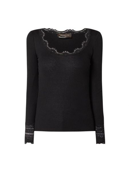 Czarna bluzka z długimi rękawami bawełniana Rosemunde
