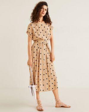 Платье мини миди в горошек Mango