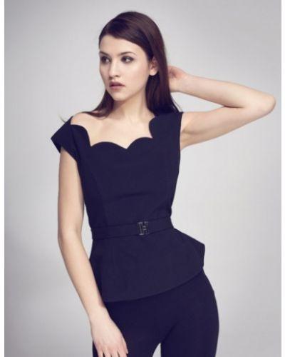 Bluzka elegancka krótki rękaw - czarna Kasia Zapała