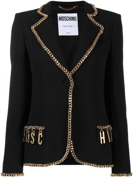 Черный пиджак с карманами на пуговицах Moschino