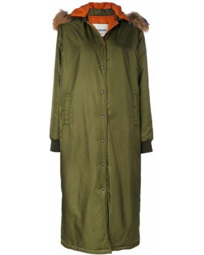 Длинное пальто с капюшоном хаки из енота Ava Adore