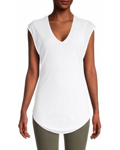 Koszulka z dekoltem w serek - biała Helmut Lang