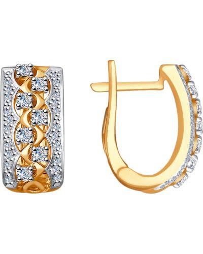 Золотые серьги серебряный английский Sokolov