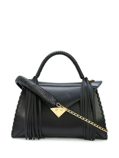 Черная большая сумка с кисточками на молнии с карманами Tyler Ellis