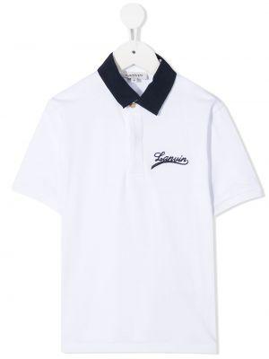 Белая рубашка с вышивкой с воротником с короткими рукавами Lanvin Enfant