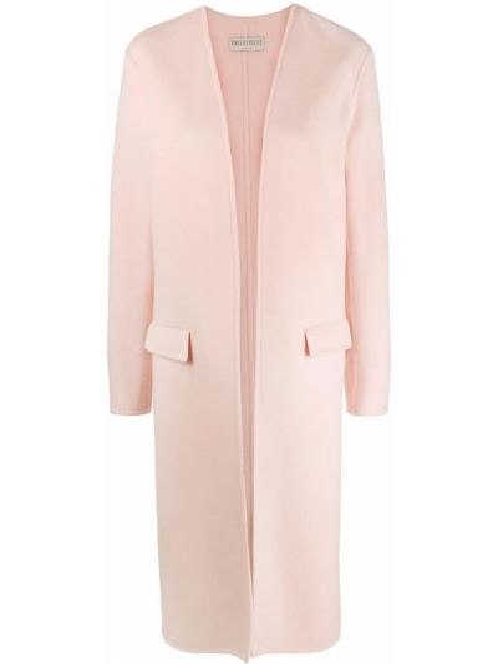 Шерстяное розовое длинное пальто двустороннее Emilio Pucci