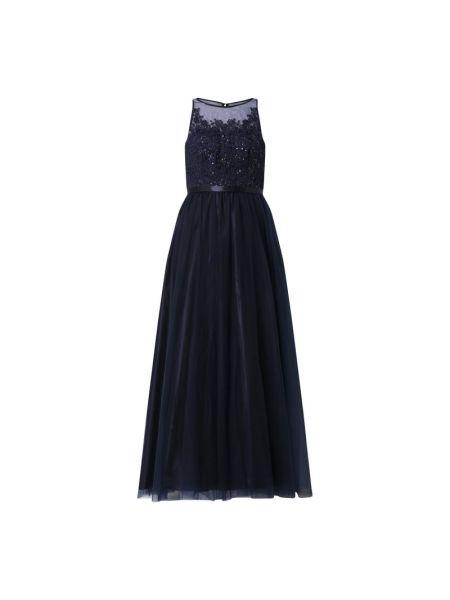 Niebieska sukienka wieczorowa rozkloszowana z cekinami Laona