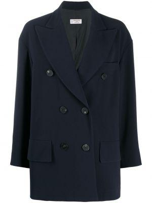 Синее длинное пальто двубортное с карманами Alberto Biani