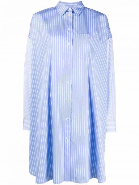 Синее платье макси в полоску с воротником Maison Kitsuné