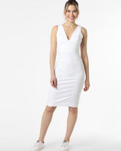 Biała sukienka jeansowa z dekoltem w serek Guess