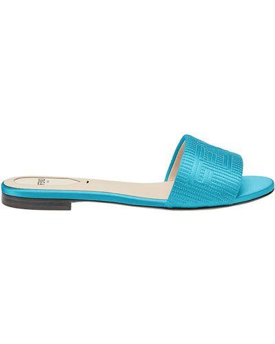 Синие сандалии Fendi