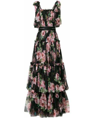 Платье с цветочным принтом приталенное льняное Dolce & Gabbana