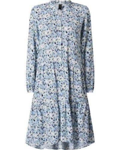 Niebieska sukienka rozkloszowana z falbanami Soyaconcept