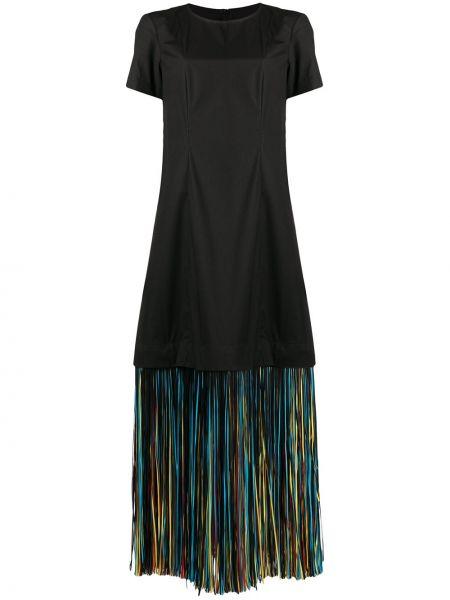 С рукавами черное платье миди с бахромой Paskal