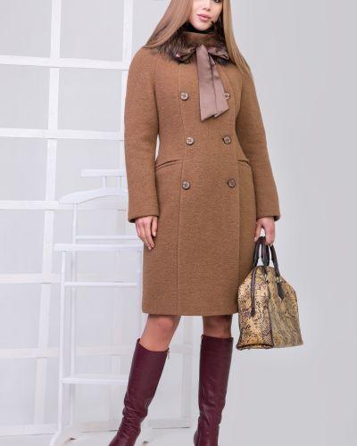 Пальто классическое с мехом двубортное с воротником Sergio Cotti