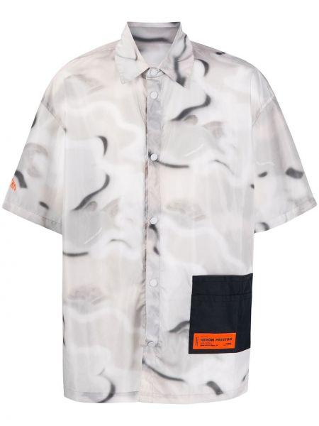 Klasyczna biała klasyczna koszula z printem Heron Preston