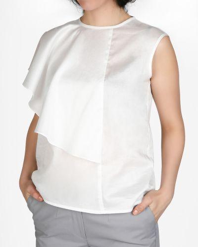 Блузка с коротким рукавом белая прямая Glam Casual