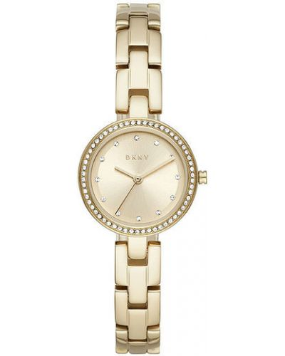 Żółty złoty zegarek miejski Zegarek Dkny