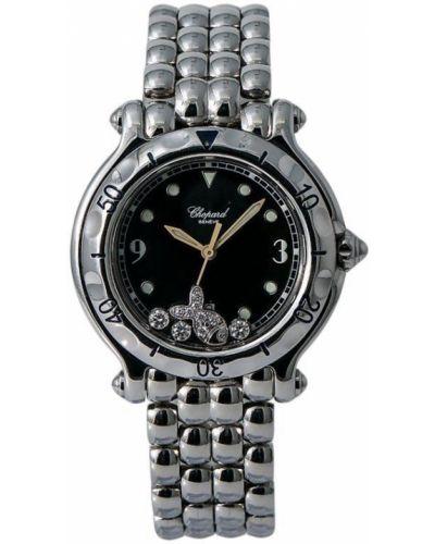 С ремешком спортивные черные кварцевые часы c сапфиром Chopard