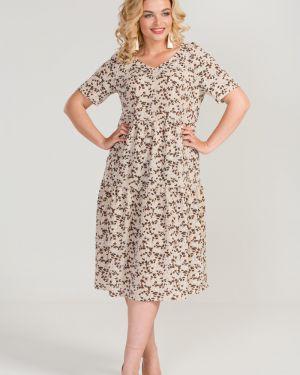 Платье каскадное с V-образным вырезом марита