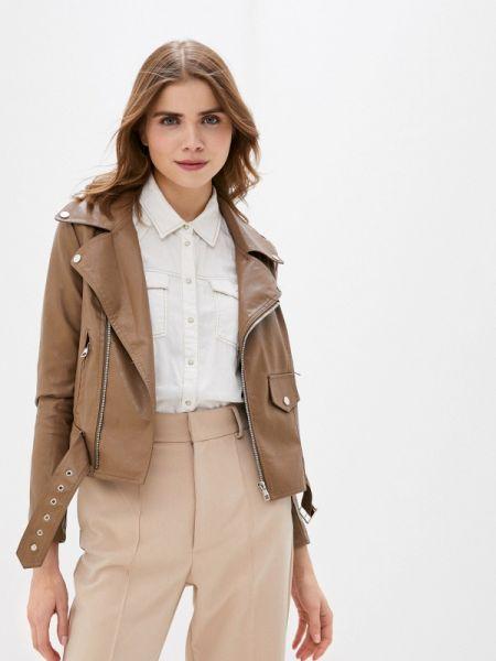 Кожаная куртка весенняя коричневая Lusio
