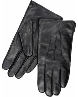 Кожаные перчатки с узором черные Henderson