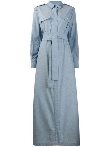 Niebieska sukienka długa z długimi rękawami bawełniana Forte Dei Marmi Couture