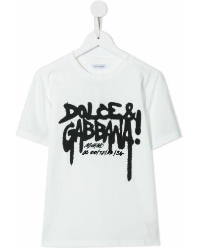 Biała T-shirt z nadrukiem z printem Dolce & Gabbana Kids