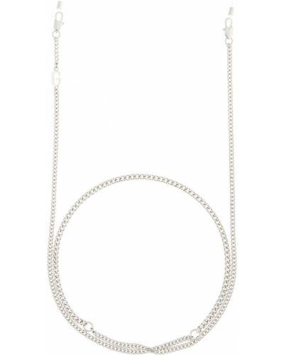 Srebro łańcuch ze srebra z ozdobnym wykończeniem metal Gentle Monster
