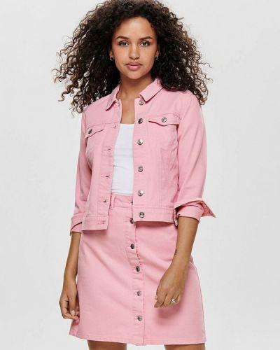 Джинсовая куртка весенняя розовая Only