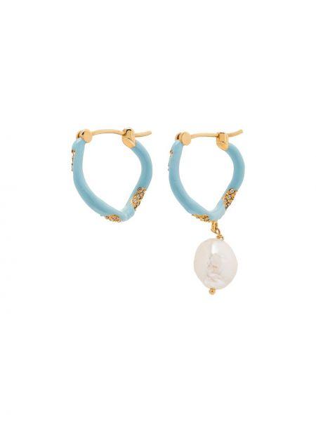 Złote kolczyki sztyfty perły pozłacane Joanna Laura Constantine