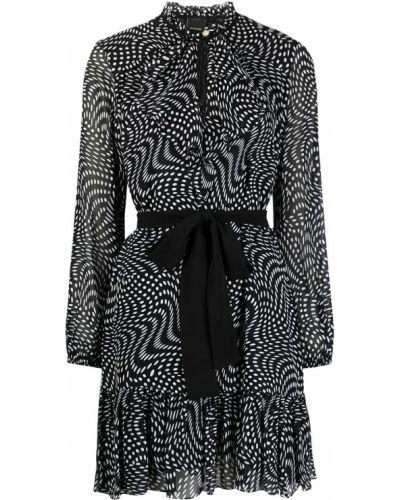 Черное платье мини в горошек с оборками Pinko