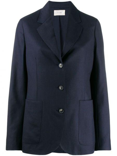 Шерстяной синий пиджак с карманами The Row