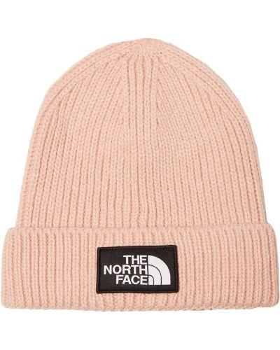Вязаная шапка розовый с отворотом The North Face