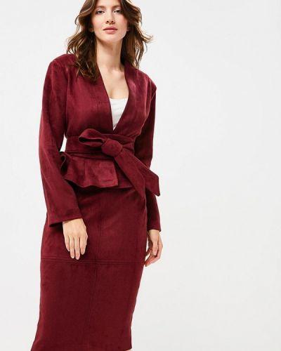 Юбочный костюм бордовый красный Bezko