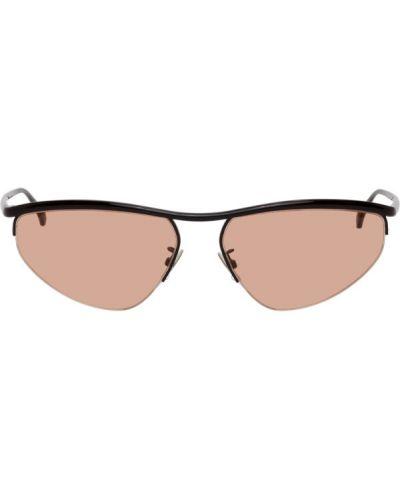 Кожаные черные солнцезащитные очки Bottega Veneta