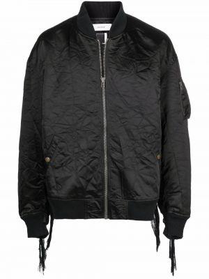 Czarna długa kurtka z nylonu z długimi rękawami Facetasm