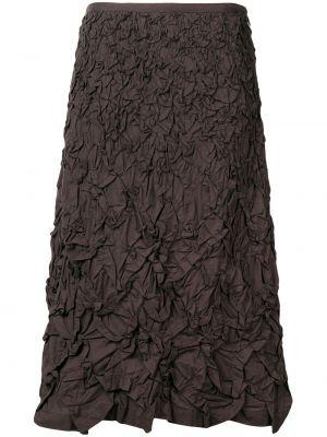 Коричневая юбка миди с поясом винтажная в рубчик Issey Miyake Pre-owned