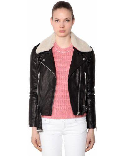 Кожаная куртка с мехом - черная Rag&bone