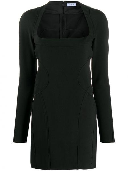 Черное платье мини со вставками на молнии с вырезом Mugler