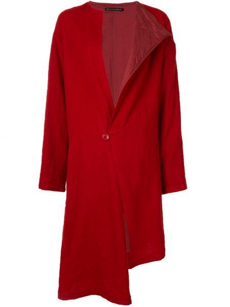 Красное шерстяное длинное пальто на пуговицах Y's