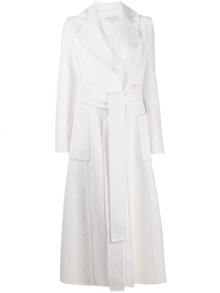 Белое шерстяное длинное пальто с накладными карманами с лацканами Michael Michael Kors